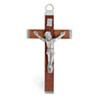 Religious Wood Cross Brown/ Nickle 32x56mm with ring Large